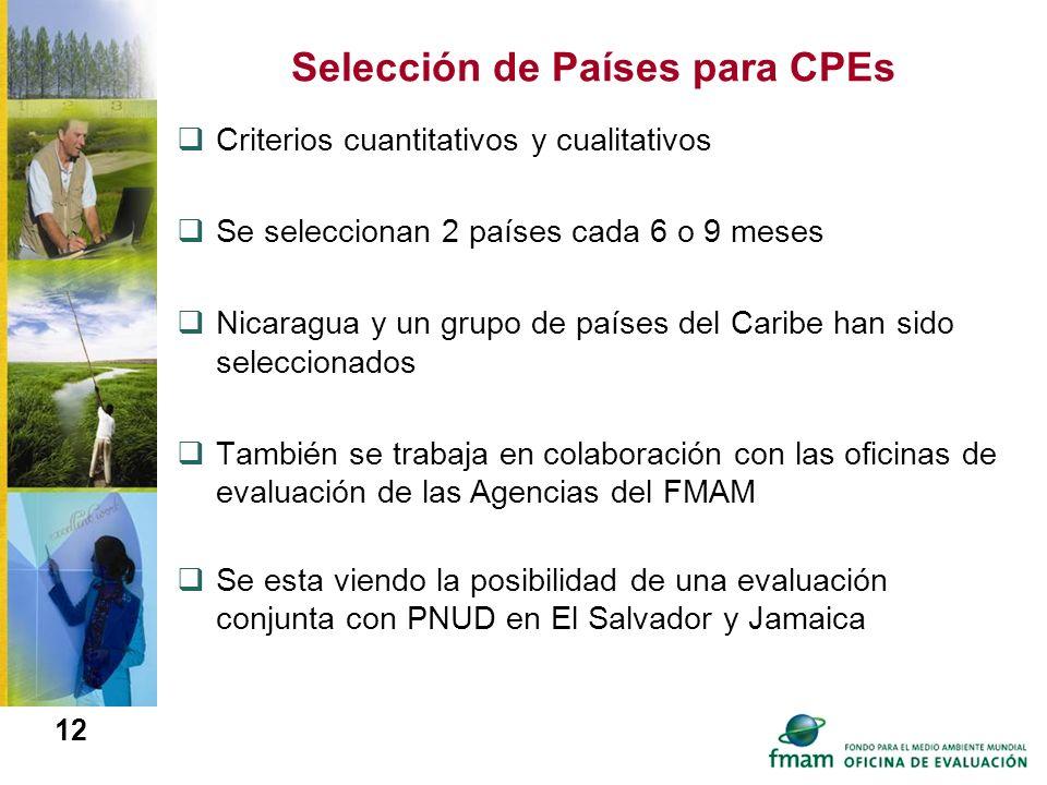 12 Selección de Países para CPEs Criterios cuantitativos y cualitativos Se seleccionan 2 países cada 6 o 9 meses Nicaragua y un grupo de países del Ca