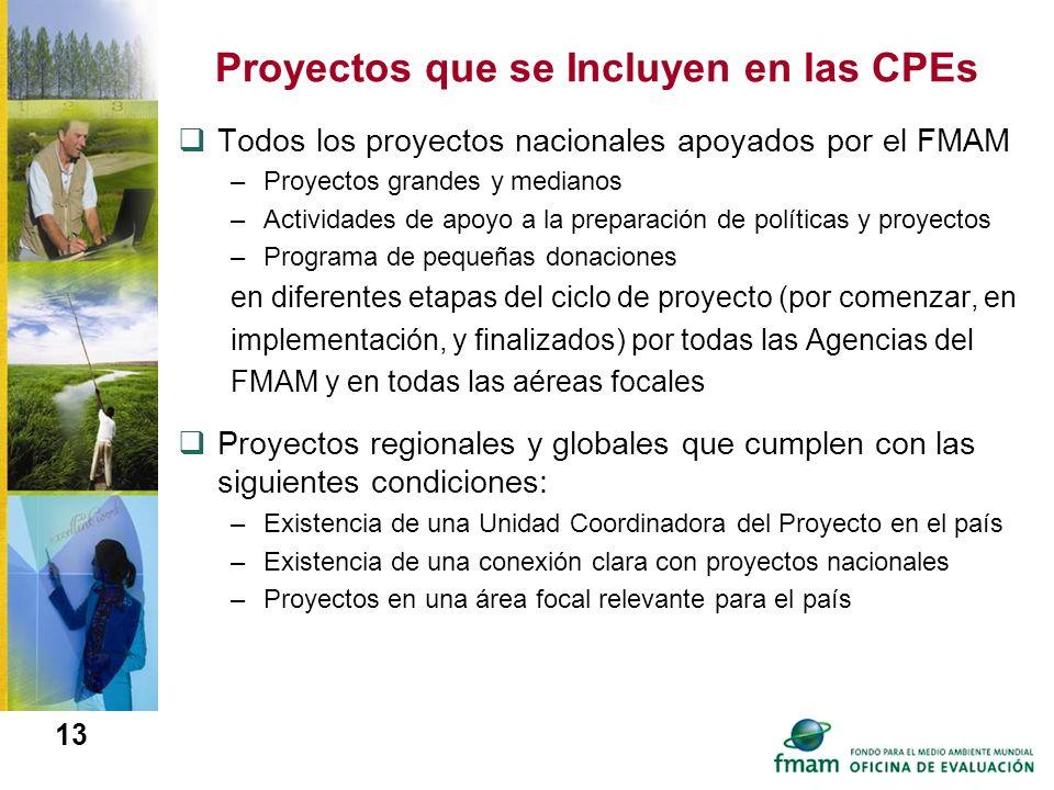 13 Proyectos que se Incluyen en las CPEs Todos los proyectos nacionales apoyados por el FMAM –Proyectos grandes y medianos –Actividades de apoyo a la