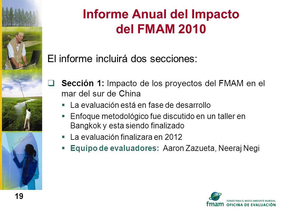 19 Informe Anual del Impacto del FMAM 2010 El informe incluirá dos secciones: Sección 1: Impacto de los proyectos del FMAM en el mar del sur de China