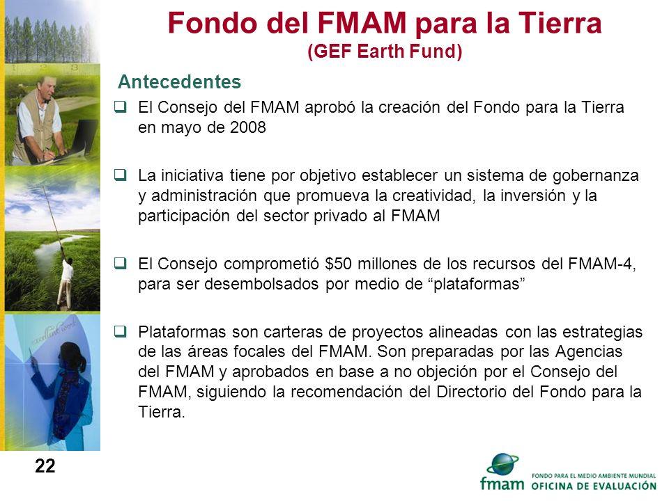 Fondo del FMAM para la Tierra (GEF Earth Fund) Antecedentes El Consejo del FMAM aprobó la creación del Fondo para la Tierra en mayo de 2008 La iniciat