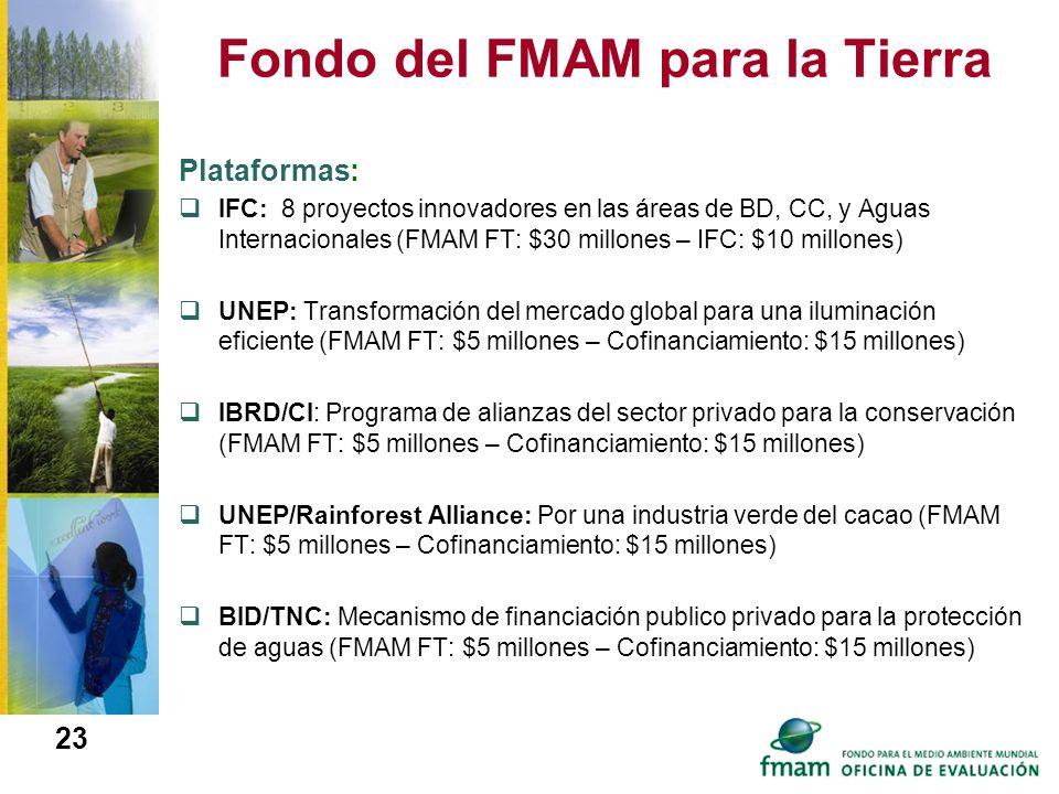 Fondo del FMAM para la Tierra 23 Plataformas: IFC: 8 proyectos innovadores en las áreas de BD, CC, y Aguas Internacionales (FMAM FT: $30 millones – IF