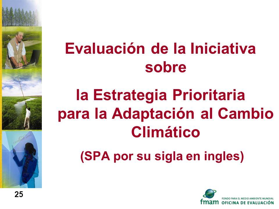 Evaluación de la Iniciativa sobre la Estrategia Prioritaria para la Adaptación al Cambio Climático (SPA por su sigla en ingles) 25