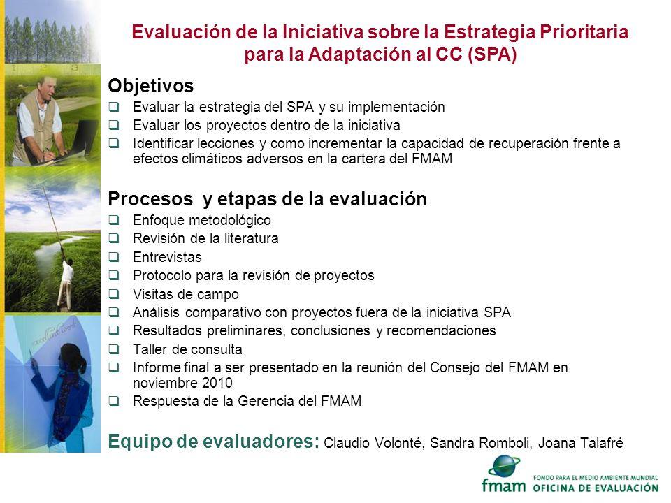 Objetivos Evaluar la estrategia del SPA y su implementación Evaluar los proyectos dentro de la iniciativa Identificar lecciones y como incrementar la
