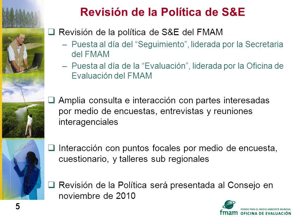 5 Revisión de la Política de S&E Revisión de la política de S&E del FMAM –Puesta al día del Seguimiento, liderada por la Secretaria del FMAM –Puesta a