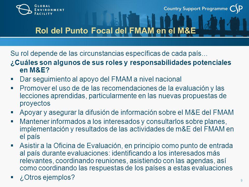 9 Rol del Punto Focal del FMAM en el M&E Su rol depende de las circunstancias específicas de cada país...