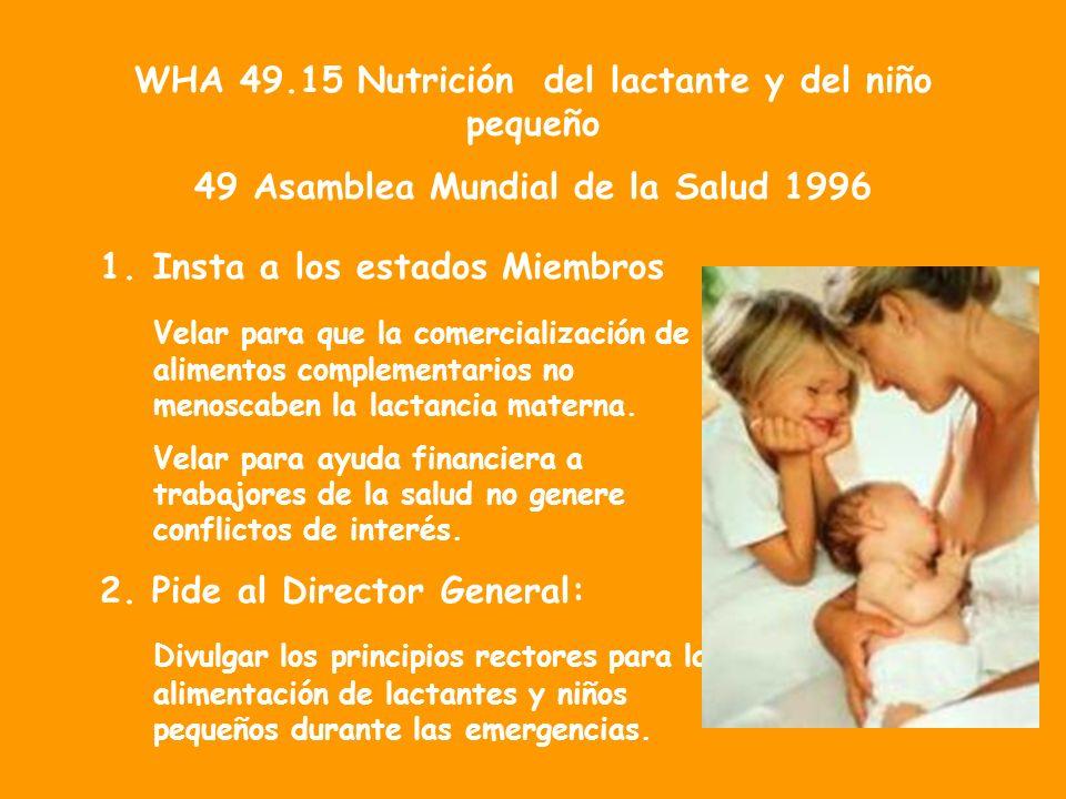 WHA 49.15 Nutrición del lactante y del niño pequeño 49 Asamblea Mundial de la Salud 1996 1.Insta a los estados Miembros Velar para que la comercialización de alimentos complementarios no menoscaben la lactancia materna.