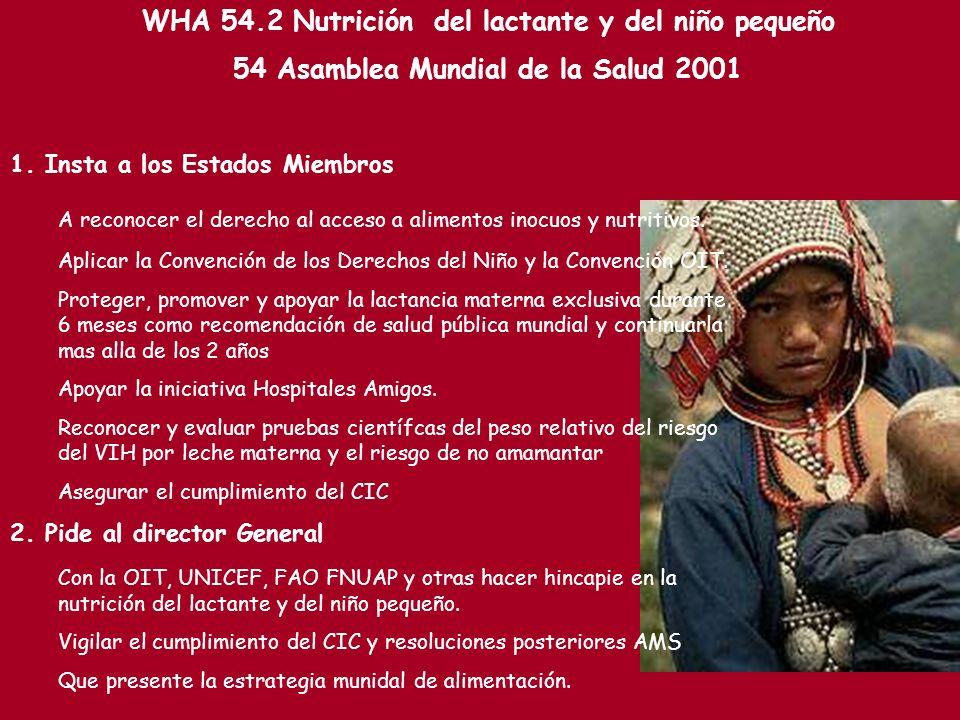 WHA 54.2 Nutrición del lactante y del niño pequeño 54 Asamblea Mundial de la Salud 2001 1. Insta a los Estados Miembros A reconocer el derecho al acce