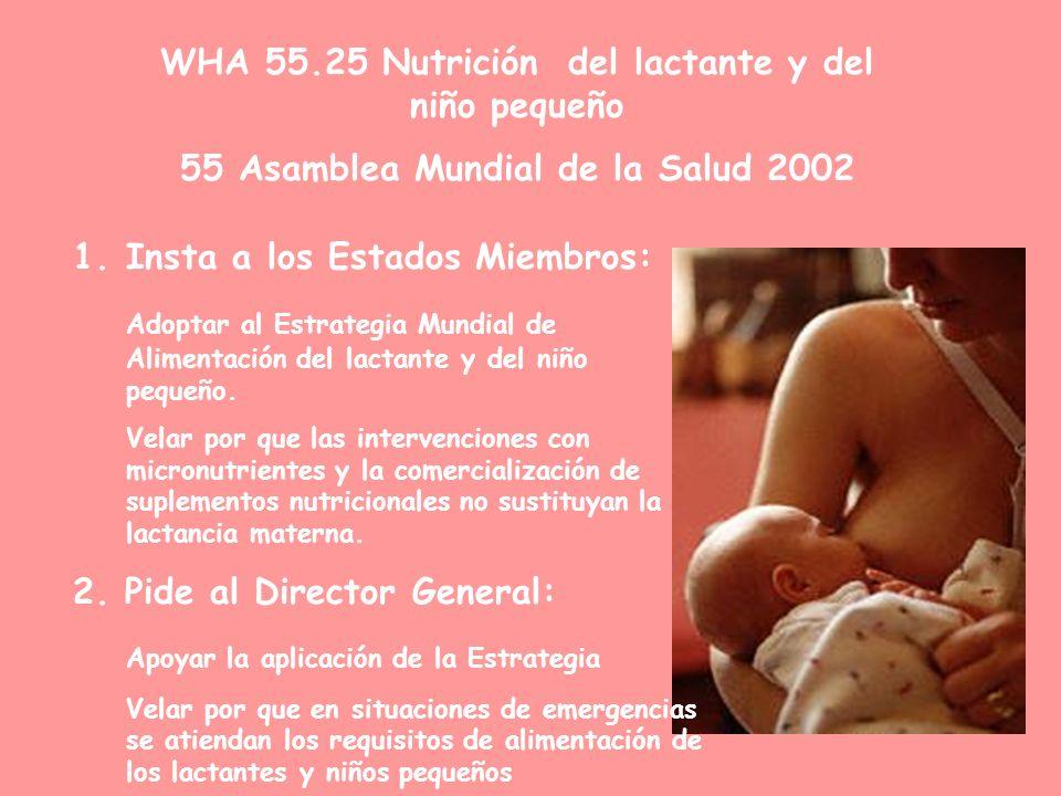 WHA 55.25 Nutrición del lactante y del niño pequeño 55 Asamblea Mundial de la Salud 2002 1.Insta a los Estados Miembros: Adoptar al Estrategia Mundial de Alimentación del lactante y del niño pequeño.