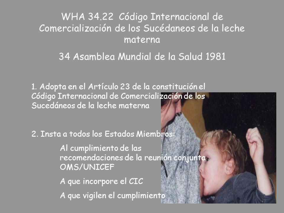 WHA 34.22 Código Internacional de Comercialización de los Sucédaneos de la leche materna 34 Asamblea Mundial de la Salud 1981 1. Adopta en el Artículo