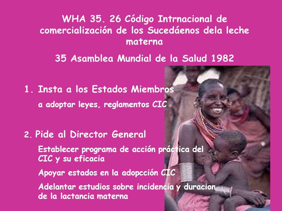 WHA 35. 26 Código Intrnacional de comercialización de los Sucedáenos dela leche materna 35 Asamblea Mundial de la Salud 1982 1.Insta a los Estados Mie