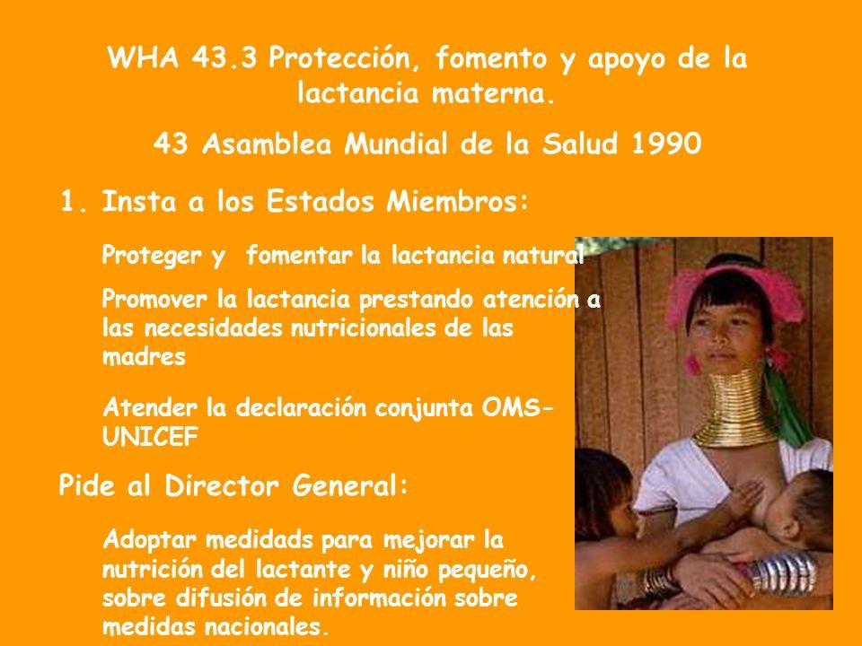 WHA 43.3 Protección, fomento y apoyo de la lactancia materna. 43 Asamblea Mundial de la Salud 1990 1.Insta a los Estados Miembros: Proteger y fomentar