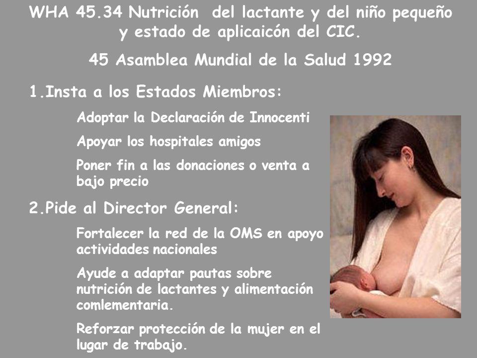 WHA 45.34 Nutrición del lactante y del niño pequeño y estado de aplicaicón del CIC. 45 Asamblea Mundial de la Salud 1992 1.Insta a los Estados Miembro