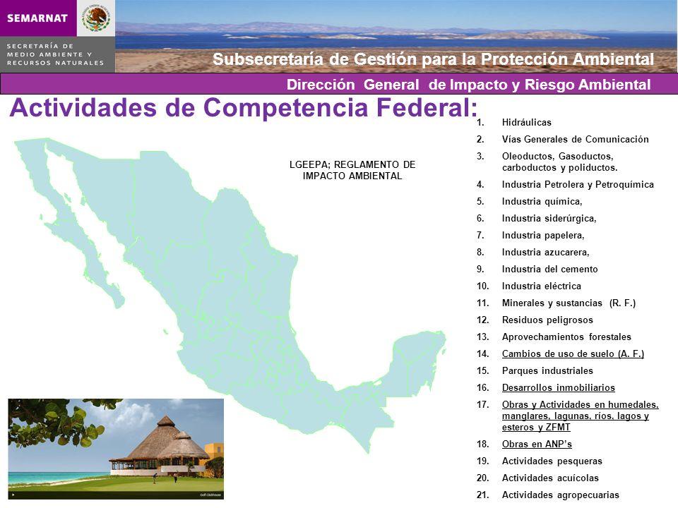 Subsecretaría de Gestión para la Protección Ambiental Actividades de Competencia Federal: 1.Hidráulicas 2.Vías Generales de Comunicación 3.Oleoductos,