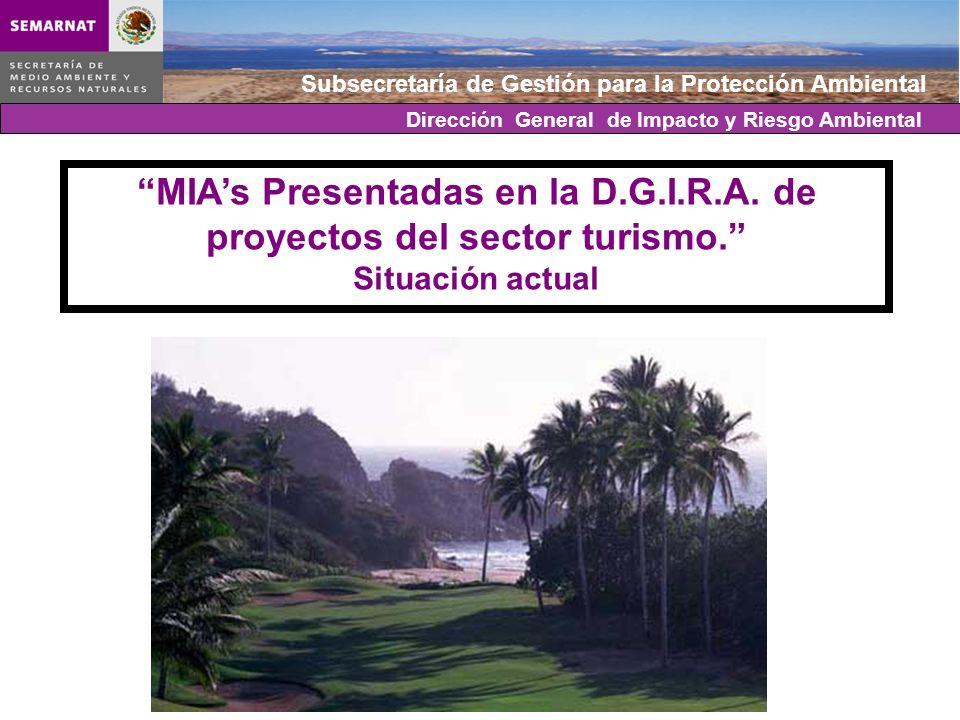 Subsecretaría de Gestión para la Protección Ambiental MIAs Presentadas en la D.G.I.R.A. de proyectos del sector turismo. Situación actual Dirección Ge