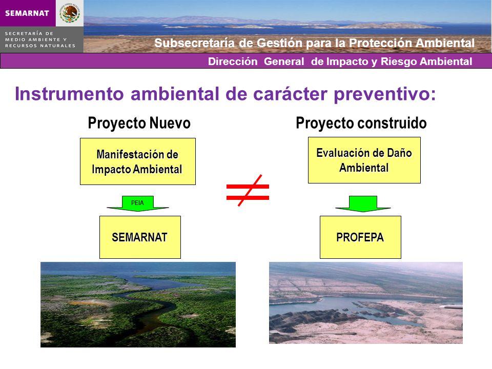 Subsecretaría de Gestión para la Protección Ambiental Proyecto NuevoProyecto construido Evaluación de Daño Ambiental Manifestación de Impacto Ambienta