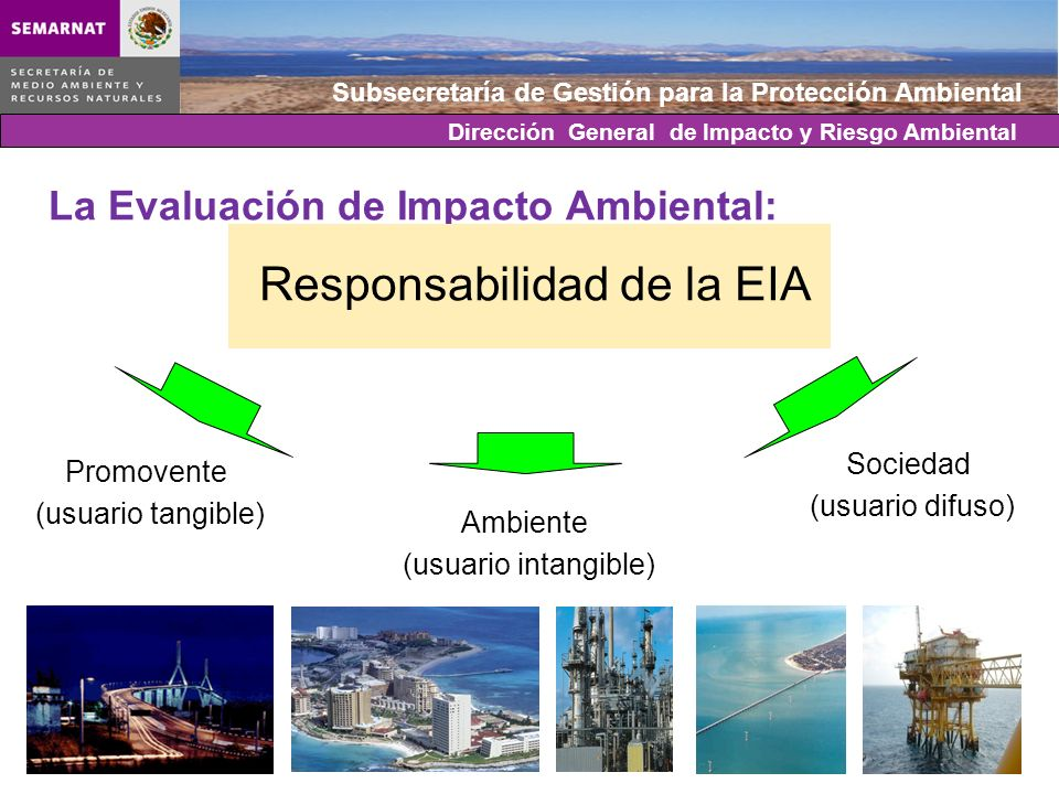 Subsecretaría de Gestión para la Protección Ambiental La Evaluación de Impacto Ambiental: Responsabilidad de la EIA Promovente (usuario tangible) Ambi