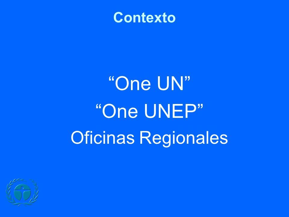 Contexto One UN One UNEP Oficinas Regionales