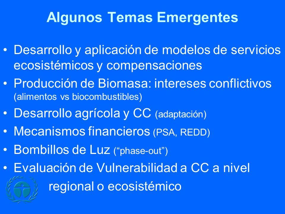 Algunos Temas Emergentes Desarrollo y aplicación de modelos de servicios ecosistémicos y compensaciones Producción de Biomasa: intereses conflictivos