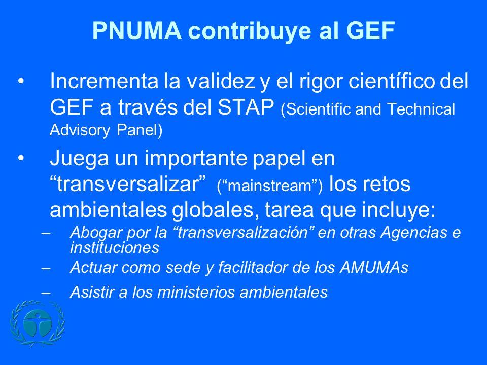 PNUMA contribuye al GEF Incrementa la validez y el rigor científico del GEF a través del STAP (Scientific and Technical Advisory Panel) Juega un impor