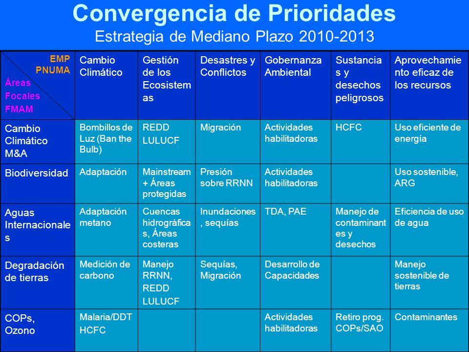 Convergencia de Prioridades Estrategia de Mediano Plazo 2010-2013 EMP PNUMA Áreas Focales FMAM Cambio Climático Gestión de los Ecosistem as Desastres