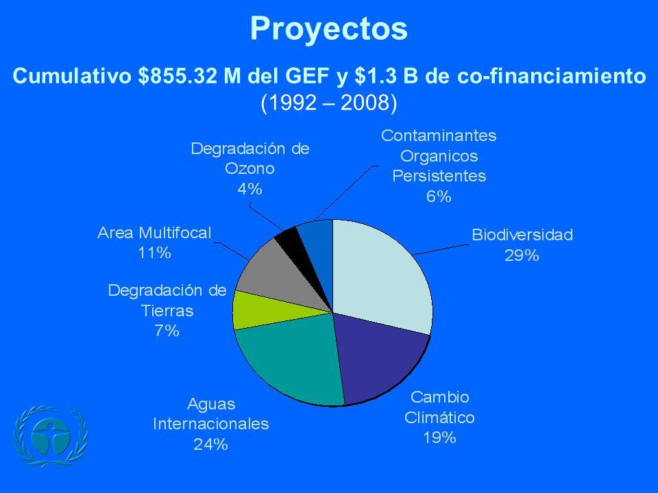 Proyectos Cumulativo $855.32 M del GEF y $1.3 B de co-financiamiento (1992 – 2008)