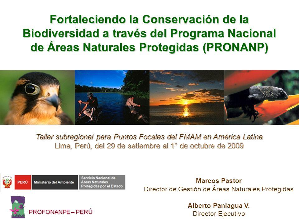 Objetivo del Proyecto Contribuir a la sostenibilidad a largo plazo de las ANP del Perú, expandiendo la representatividad ecológica del SINANPE e implementando actividades de conservación en diferentes niveles administrativos (nacional, regional y privado) dentro de corredores o mosaicos de conservación.