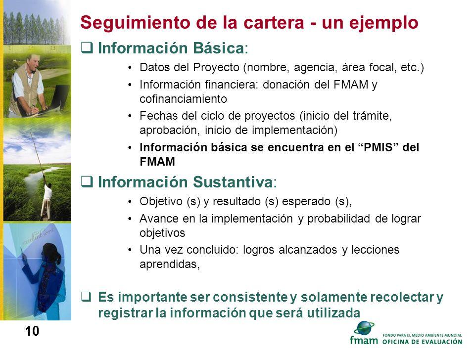 10 Seguimiento de la cartera - un ejemplo Información Básica: Datos del Proyecto (nombre, agencia, área focal, etc.) Información financiera: donación