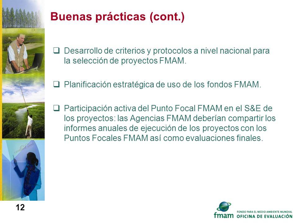 Buenas prácticas (cont.) Desarrollo de criterios y protocolos a nivel nacional para la selección de proyectos FMAM. Planificación estratégica de uso d