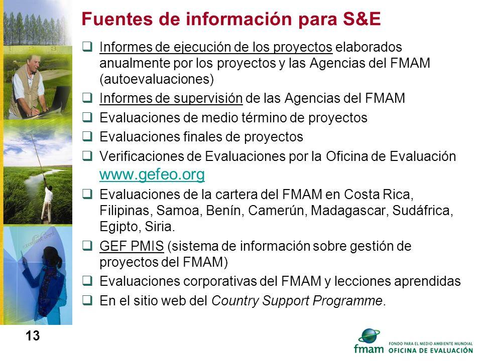 13 Fuentes de información para S&E Informes de ejecución de los proyectos elaborados anualmente por los proyectos y las Agencias del FMAM (autoevaluac