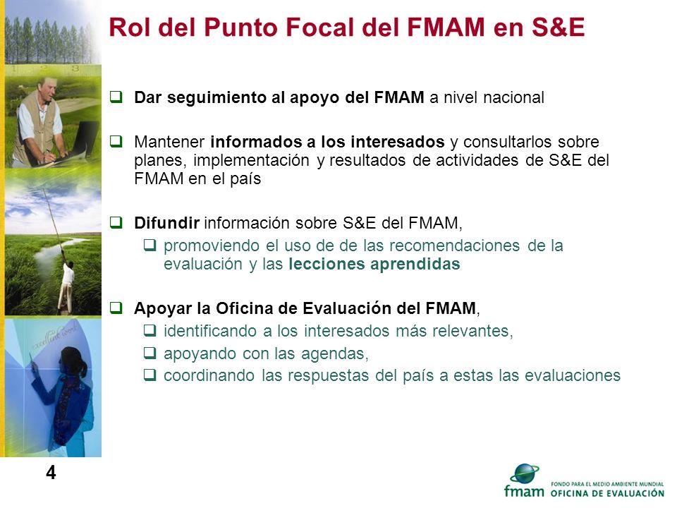 4 Rol del Punto Focal del FMAM en S&E Dar seguimiento al apoyo del FMAM a nivel nacional Mantener informados a los interesados y consultarlos sobre pl