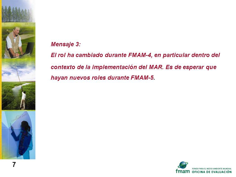 Mensaje 3: El rol ha cambiado durante FMAM-4, en particular dentro del contexto de la implementación del MAR. Es de esperar que hayan nuevos roles dur