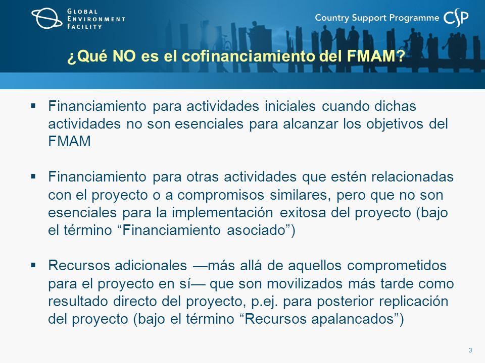33 ¿Qué NO es el cofinanciamiento del FMAM? Financiamiento para actividades iniciales cuando dichas actividades no son esenciales para alcanzar los ob