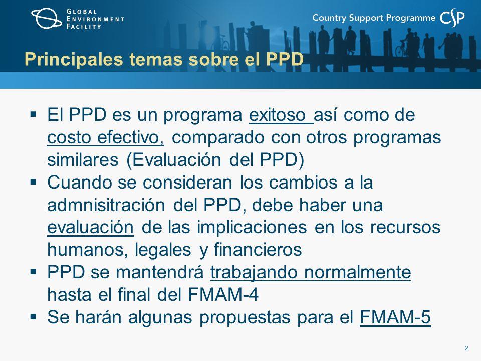 22 Principales temas sobre el PPD El PPD es un programa exitoso así como de costo efectivo, comparado con otros programas similares (Evaluación del PPD) Cuando se consideran los cambios a la admnisitración del PPD, debe haber una evaluación de las implicaciones en los recursos humanos, legales y financieros PPD se mantendrá trabajando normalmente hasta el final del FMAM-4 Se harán algunas propuestas para el FMAM-5