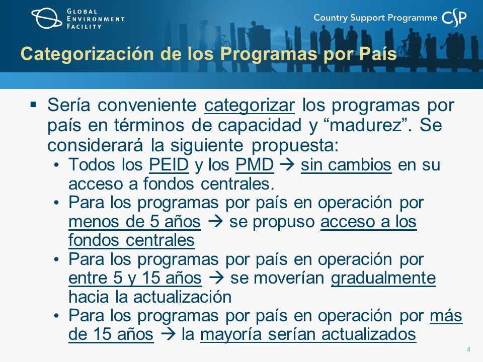 44 Categorización de los Programas por País Sería conveniente categorizar los programas por país en términos de capacidad y madurez.