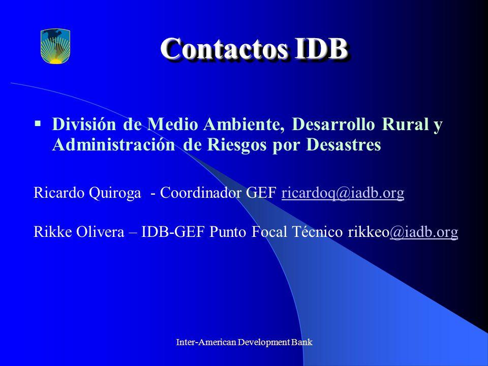 Inter-American Development Bank Contactos IDB Contactos IDB División de Medio Ambiente, Desarrollo Rural y Administración de Riesgos por Desastres Ric