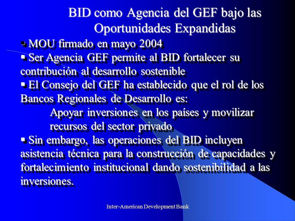 Inter-American Development Bank BID como Agencia del GEF bajo las Oportunidades Expandidas MOU firmado en mayo 2004 MOU firmado en mayo 2004 Ser Agenc