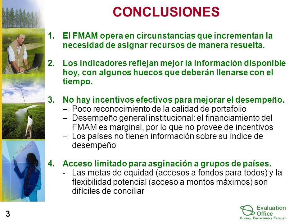 CONCLUSIONES 1.El FMAM opera en circunstancias que incrementan la necesidad de asignar recursos de manera resuelta.