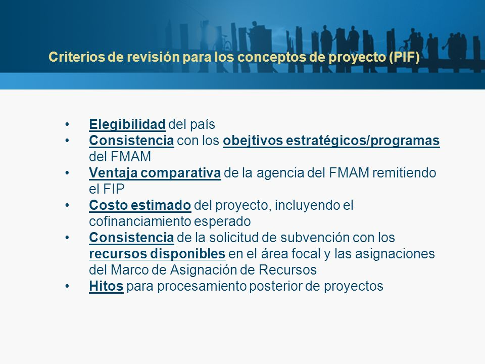 Criterios de revisión para los conceptos de proyecto (PIF) Elegibilidad del país Consistencia con los obejtivos estratégicos/programas del FMAM Ventaja comparativa de la agencia del FMAM remitiendo el FIP Costo estimado del proyecto, incluyendo el cofinanciamiento esperado Consistencia de la solicitud de subvención con los recursos disponibles en el área focal y las asignaciones del Marco de Asignación de Recursos Hitos para procesamiento posterior de proyectos