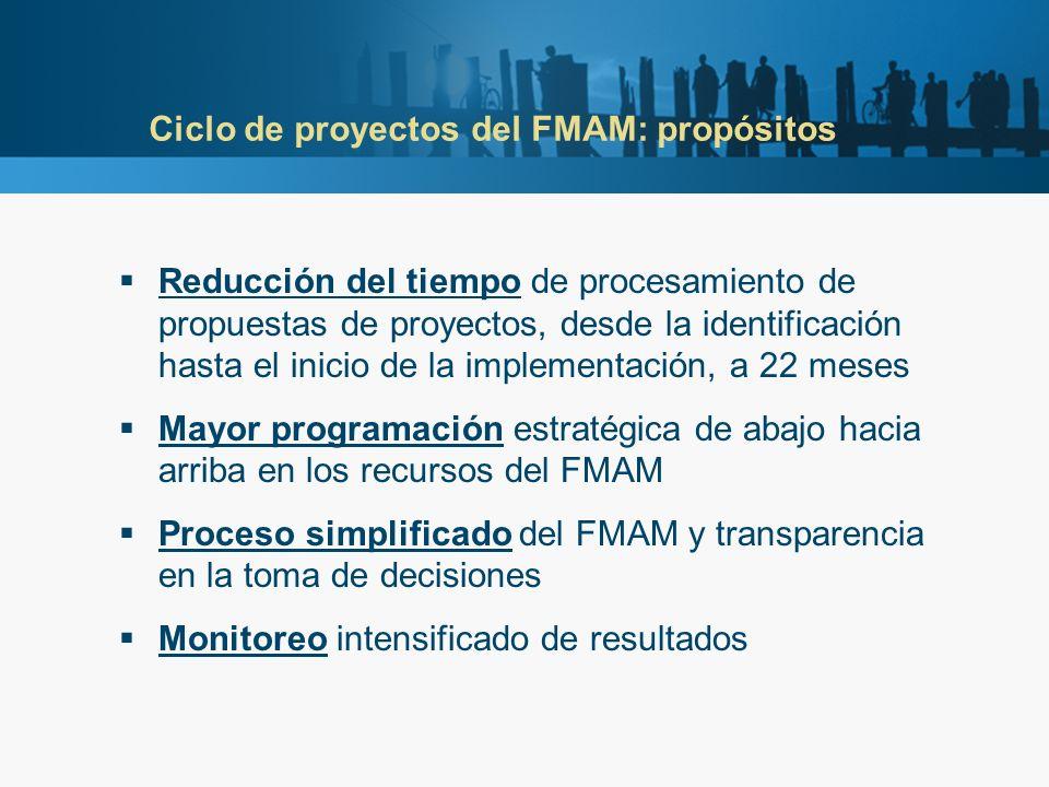 Ciclo de proyectos del FMAM: propósitos Reducción del tiempo de procesamiento de propuestas de proyectos, desde la identificación hasta el inicio de la implementación, a 22 meses Mayor programación estratégica de abajo hacia arriba en los recursos del FMAM Proceso simplificado del FMAM y transparencia en la toma de decisiones Monitoreo intensificado de resultados