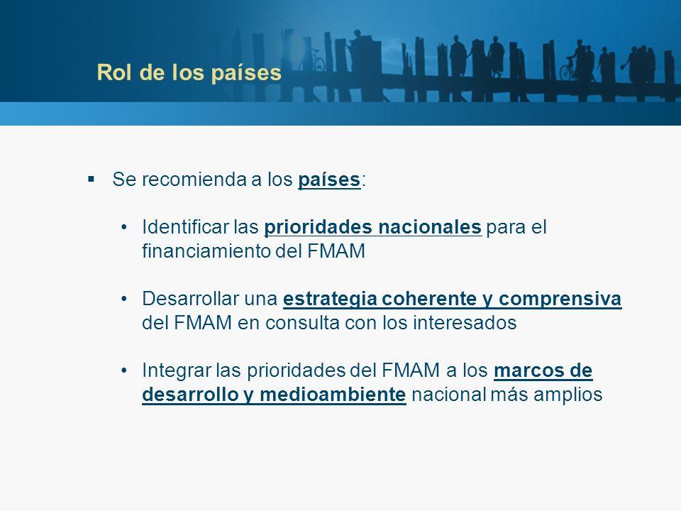 Rol de los países Se recomienda a los países: Identificar las prioridades nacionales para el financiamiento del FMAM Desarrollar una estrategia coherente y comprensiva del FMAM en consulta con los interesados Integrar las prioridades del FMAM a los marcos de desarrollo y medioambiente nacional más amplios
