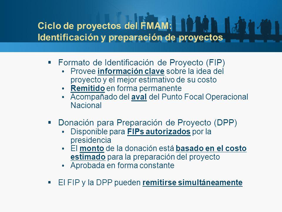 Ciclo de proyectos del FMAM: Identificación y preparación de proyectos Formato de Identificación de Proyecto (FIP) Provee información clave sobre la idea del proyecto y el mejor estimativo de su costo Remitido en forma permanente Acompañado del aval del Punto Focal Operacional Nacional Donación para Preparación de Proyecto (DPP) Disponible para FIPs autorizados por la presidencia El monto de la donación está basado en el costo estimado para la preparación del proyecto Aprobada en forma constante El FIP y la DPP pueden remitirse simultáneamente