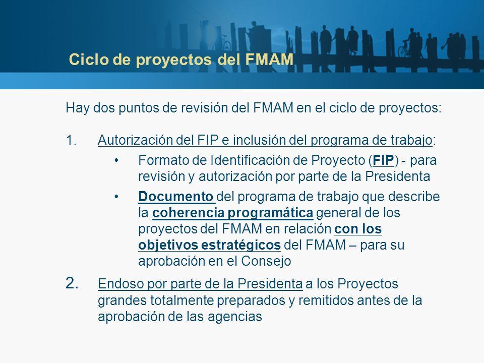 Ciclo de proyectos del FMAM Hay dos puntos de revisión del FMAM en el ciclo de proyectos: 1.Autorización del FIP e inclusión del programa de trabajo: Formato de Identificación de Proyecto (FIP) - para revisión y autorización por parte de la Presidenta Documento del programa de trabajo que describe la coherencia programática general de los proyectos del FMAM en relación con los objetivos estratégicos del FMAM – para su aprobación en el Consejo 2.