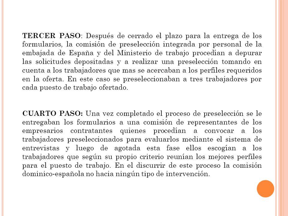 TERCER PASO : Después de cerrado el plazo para la entrega de los formularios, la comisión de preselección integrada por personal de la embajada de España y del Ministerio de trabajo procedían a depurar las solicitudes depositadas y a realizar una preselección tomando en cuenta a los trabajadores que mas se acercaban a los perfiles requeridos en la oferta.