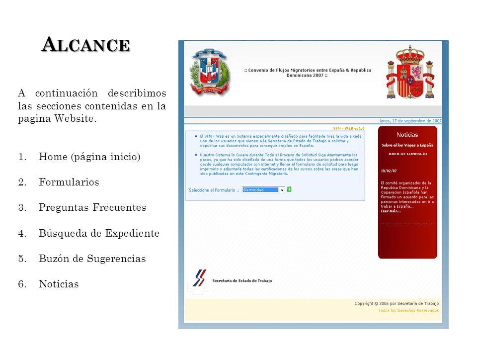 A LCANCE A LCANCE A continuación describimos las secciones contenidas en la pagina Website.