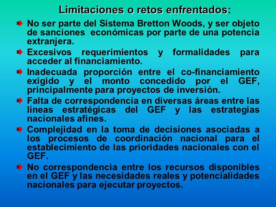 Limitaciones o retos enfrentados Limitaciones o retos enfrentados: No ser parte del Sistema Bretton Woods, y ser objeto de sanciones económicas por parte de una potencia extranjera.