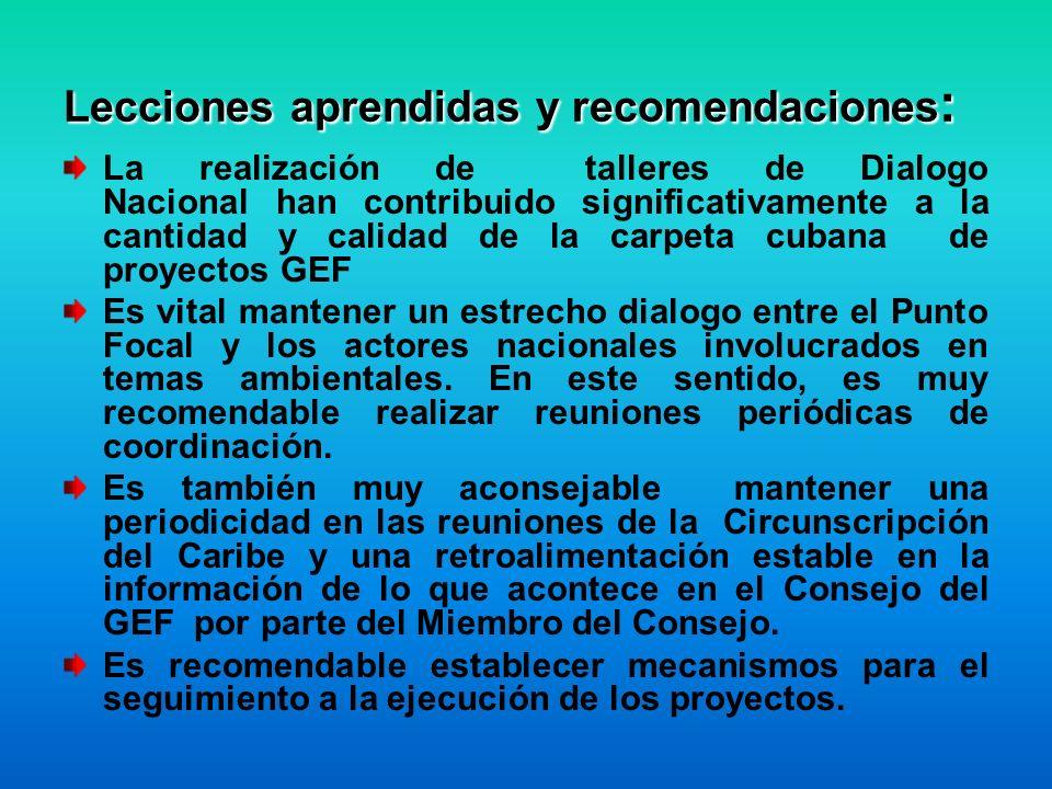 Lecciones aprendidas y recomendaciones : La realización de talleres de Dialogo Nacional han contribuido significativamente a la cantidad y calidad de la carpeta cubana de proyectos GEF Es vital mantener un estrecho dialogo entre el Punto Focal y los actores nacionales involucrados en temas ambientales.