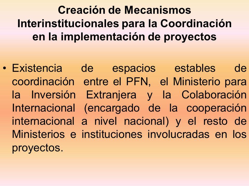 Creación de Mecanismos Interinstitucionales para la Coordinación en la implementación de proyectos Existencia de espacios estables de coordinación ent