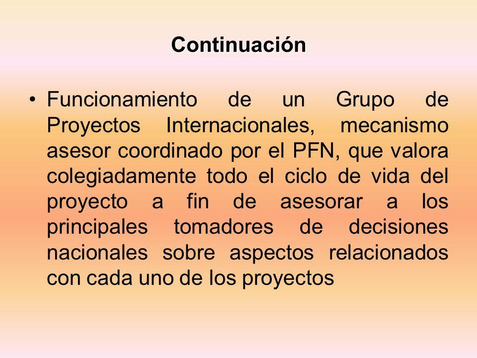 Continuación Funcionamiento de un Grupo de Proyectos Internacionales, mecanismo asesor coordinado por el PFN, que valora colegiadamente todo el ciclo