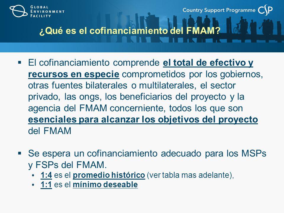 ¿Qué es el cofinanciamiento del FMAM? El cofinanciamiento comprende el total de efectivo y recursos en especie comprometidos por los gobiernos, otras