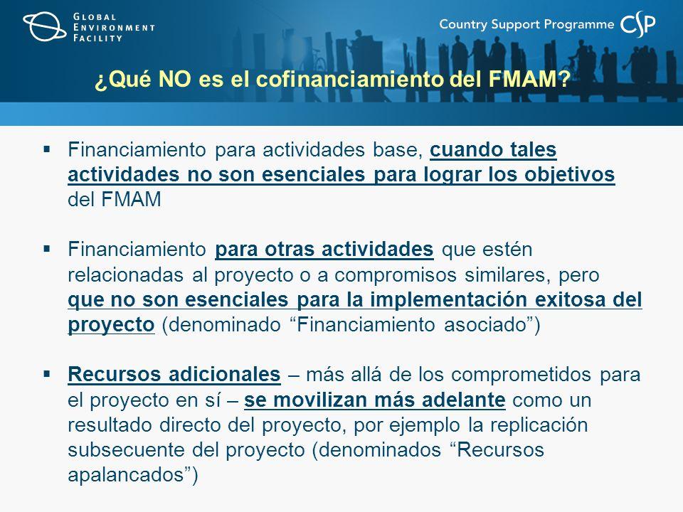 ¿Qué NO es el cofinanciamiento del FMAM? Financiamiento para actividades base, cuando tales actividades no son esenciales para lograr los objetivos de